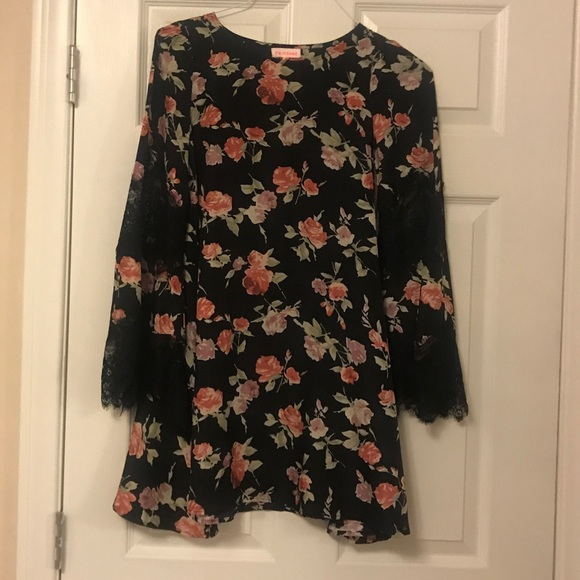 re:named Dresses & Skirts - Renamed Floral Dress with Lace Bell Sleeve
